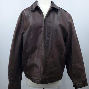 GAP Leather Distressed Bomber Jacket M Brown